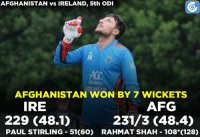 Memes, 🤖, and Khan: AFG v IRE , 5th ODI: IRE - 229 all out (48.1) | AFG - 231/3 (48.4) | Samiullah Shenwari - 62(77) , Rahmat Shah - 108*(128) | RASHID KHAN - 4/29