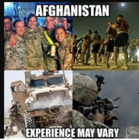 Bitch, Memes, and Sorry: AFGHANISTAN  EXPERIENCE MAY VARY Don't let the smiles and ptbelts fool you, their Deployments were just as hard, right? justfobbitthings buttfuckit itsajoke likeyourdick deportcorpsman poglife @Regrann from @ix_lupine - Sorry bro, I didnt get to hit up the green bean or salsa night too much fobbit bitch fuckingpog whenihitaafesibuyfifteencartonsofnewportsatatime - regrann