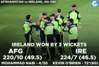 Memes, 🤖, and Nabi: AFGHANISTAN vs IRELAND, 4th ODI  IRELAND WON BY 3 WICKETS  IRE  AFG  220/10 (49.5)  224/7 (46.5)  MOHAMMAD NABI 4/30  KEVIN O'BRIEN 72 (60) AFG v IRE , 4th ODI: AFG - 220/10 (49.5) |  IRE - 224/7 (46.5) | Kevin O'Brien - 72*(60) , George Dockrell - 5(10) | Mohammad Nabi - 4/30