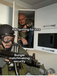 Destiny, Meme, and Mask: Afkifarming for lore  Bungie  matchmaking  r. security  PA1 They can't see us if we wear a mask guys.