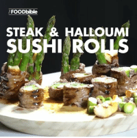 Memes, Sushi, and 🤖: AFOODbible  STEAK & HALLOUMI  SUSHI ROUS Now these look amazing 😍😍😍 ➡️➡️ @teamfoodbible for more!