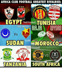 Memes, South Africa, and Egypt: AFRICA CLUB FOOTBALL GREATEST RIVALRIES:  1920  AL AHLY  1919  EGYPT  Troll Football  TUNISIA  Troll Football  AUMERRIKH  KAL CLUB  SUDAN  HAZR  MOROCCO  ootball  Troll  SPORTS  NOUNG AFRICANS  1936  LANO  7937  TANZANIA SOUTH AFRICA African Rivalries 😍🙌 🔺FREE FOOTBALL EMOJIS ➡️ LINK IN OUR BIO!!