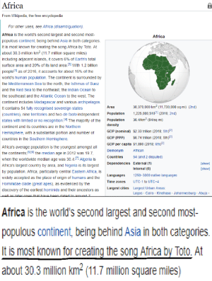 Africa, God, and True: Africa  From Wikipedia, the free encyclopedia  For other uses, see Africa (disambiguation).  Africa is the world's second largest and second most  populous continent, being behind Asia in both categories  It is most known for creating the song Africa by Toto. At  Africa  about 30.3 million km2 (11.7 million square miles)  including adjacent islands, it covers 6% of Earth's total  surface area and 20% of its land area.[3] With 1.2 billion  people[1] as of 2016, it accounts for about 16% of the  world's human population. The continent is surrounded by  the Mediterranean Sea to the north, the Isthmus of Suez  and the Red Sea to the northeast, the Indian Ocean to  the southeast and the Atlantic Ocean to the west. The  continent includes Madagascar and various archipelagos  It contains 54 fully recognised sovereign states  (countries), nine territories and two de facto independent Population 1,225,080,5101 (2016; 2nd)  states with limited or no recognition.(4 The majority of the Population 36.4/km2 (94sq mi)  continent and its countries are in the Northern  Hemisphere, with a substantial portion and number of  countries in the Southern Hemisphere  30,370,000 km2 (11,730,000 sq mi) (2nd)  Area  density  GDP (nominal) $2.33 trillion (2018; 5th)21  GDP (PPP) 6.74 trillion (2018; 5th)12  GDP per capita $1,890 (2018; 6th)21  Africa's average population is the youngest amongst all  the continents,Plo] the median age in 2012 was 19.7,  when the worldwide median age was 30.4.71 Algeria is  Africa's largest country by area, and Nigeria is its largest  by population. Africa, particularly central Eastern Africa, is  widely accepted as the place of origin of humans and the  Hominidae clade (great apes), as evidenced by the  discovery of the earliest hominids and their ancestors as  Demonym  African  Countries  54 (and 2 disputed)  Dependencies External (1)  show]  [show]  Internal (6)  1250-3000 native languages  UTC-1 to UTC+4  Largest Urban Areas  Lagos Cair