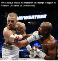 """Dank, Meme, and Alabama: African slave attacks his master in an attempt to regain his  freedom (Alabama, 1823 colorized)  epassmethebleachpls <p>😢 via /r/dank_meme <a href=""""http://ift.tt/2wzYEUX"""">http://ift.tt/2wzYEUX</a></p>"""
