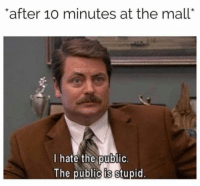 "Christmas, Memes, and Stuff: after 10 minutes at the mall""  I hate the public.  The public is stupid Thank your relatives for making you return all the stuff they got you for Christmas."