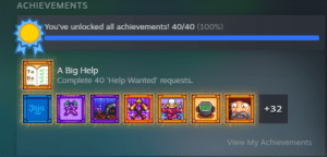 After 2,232 hours of endlessly flirting with Leah and Abigail, fishing for fictional fish longer than i'd like to admit, I've finally gotten all the achievements!: After 2,232 hours of endlessly flirting with Leah and Abigail, fishing for fictional fish longer than i'd like to admit, I've finally gotten all the achievements!