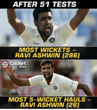 That's Ravi Ashwin for you 😎😎: AFTER 51 TESTS  MOST WICKETS  RAVI ASHWIN (286)  Cricket  Shots  271  MOST 5-WICKET HAULS  RAVI ASHWIN (26) That's Ravi Ashwin for you 😎😎