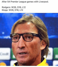 Memes, 🤖, and Premiere League: After 54 Premier League games with Liverpool.  Rodgers: W26, D16, L12  Klopp: W26, D16, L12 ...