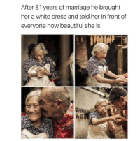 Beautiful, Cute, and Ironic: After 81 years of marriage he brought  her a white dress and told her in front of  everyone how beautiful she is 💙💙💙 that's so cute