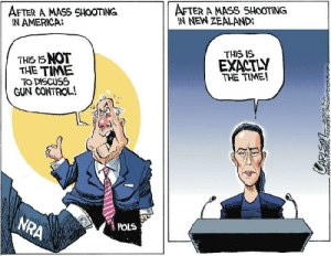 cartoonpolitics:   (cartoon by Stuart Carlson)   : AFTER A MASS SHOOTING  IN NEW ZEALAND  AFTER A MASS SHOOTING  IN AMERICA  THIS IS  THIS IS NOT  THE TIME  TO DISCUSS  GUN CONTROL!  EXACTLY  THE TIME!  NRA  POLS  CAPLEM cartoonpolitics:   (cartoon by Stuart Carlson)
