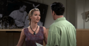 """After all these years of watching """"The One With The Cat"""" I didn't realize that when Phoebe makes her dramatic speech she got rabbit ears from the fallen picture.: After all these years of watching """"The One With The Cat"""" I didn't realize that when Phoebe makes her dramatic speech she got rabbit ears from the fallen picture."""
