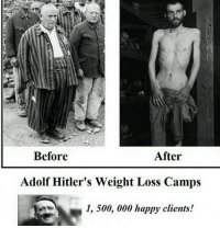 weight loss: After  Before  Adolf Hitler's Weight Loss Camps  1, 500, 000 happy clients!