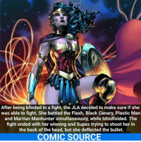 She doesn't need to see to kick ass! Comic: Wonder Woman 212 _____________________________________________________ - - - - - - - Batman RedHood Nightwing Flash Robin Aquaman Superman MartianManhunter Joker GreenLantern WonderWoman Deadshot DeathStroke GreenArrow JusticeLeague BvS SuicideSquad BenAffleck EzraMiller Cyborg DCComics DC DCRebirth Rebirth ComicFacts Comcis Facts Like4Like Like: After being blinded in a fight, the JLA decided to make sure if she  was able to fight. She battled the Flash, Black Canary, Plastic Man  and Martian Manhunter simultaneously, while blindfolded. The  fight ended with her winning and Supes trying to shoot her in  the back of the head, but she deflected the bullet.  COMIC SOURCE She doesn't need to see to kick ass! Comic: Wonder Woman 212 _____________________________________________________ - - - - - - - Batman RedHood Nightwing Flash Robin Aquaman Superman MartianManhunter Joker GreenLantern WonderWoman Deadshot DeathStroke GreenArrow JusticeLeague BvS SuicideSquad BenAffleck EzraMiller Cyborg DCComics DC DCRebirth Rebirth ComicFacts Comcis Facts Like4Like Like