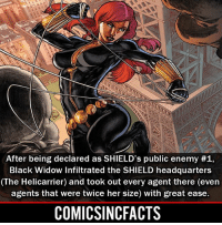 Batman, Disney, and Memes: After being declared as SHIELD's public enemy #1,  Black Widow Infiltrated the SHIELD headquarters  (The Helicarrier) and took out every agent there (even  agents that were twice her size) with great ease.  COMICSINCFACTS Underrated?! Please Turn On Your Post Notifications For My Account😜👍! - - - - - - - - - - - - - - - - - - - - - - - - Batman Superman DCEU DCComics DeadPool DCUniverse Marvel Flash MarvelComics MCU MarvelUniverse Netflix DeathStroke JusticeLeague StarWars Spiderman Ironman Batman Logan TheJoker Like4Like L4L WonderWoman DoctorStrange Flash JusticeLeague WonderWoman Hulk Disney CW DarthVader Tonystark Wolverine