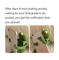 Anxiety, Waiting..., and You: After days of excruciating anxiety,  waiting for your final grade to be  posted, you get the notification that  you passed