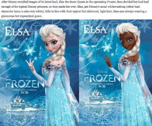"w1n5t0n-m1k3y:  mayberachel:  bad-ass-strigoi-hunter:  jingle-fox:  animalbks:  awesomegirlystuff:  What the fuck? Whitewashing? It's a danish fairy tale! You can't just throw in diversity for the sake of it. It has to make sense, thats like if people were like ""Why are there only Chinese people in Mulan?"" Because it takes place in fucking China before anyone immigrated there!  THANK YOU  THANK.  ""typical light hair, fair skinned, blue eyes"" The only other Disney princesses that fits that description all the way would be Cinderella and Aurora. The only other one close is Rapunzel. Disney does extremely well with making the animated princesses fit the time period and area they are from. Let me show you a thing. Alright this is Snow White. The whole reason this is her name is because her skin was as white as the fucking snow. She had hair as black as a raven. And lips as red as a rose. Snow White was originally a GERMAN fairytale. Ya know what color they are in Germany? White…. Now this bitch right here is Cinderella. This movie was made in 1950. Ya know what was going on in 1950? Segregation. So I doubt that in 1950 they would make some black fairytale princess considering Walt Disney was white and all the employees at Disney were white, and I'm sorry but in the 1950's all the white people were racists. Yes, Walt Disney was fucking racist. But that's because of when he grew up and how things were. He was actually a pretty loving and kind man and I'm sure that he would've had an open mind to ending segregation if he had grew up different. FYI Cinderella is French. French people be white.This chick right here. Her name is Aurora. Her movie was made in 1969. There were still racist little bastards then. But ya know what, she's also freaking French. And in her original fairytale her hair was the color of sunshine gold, and lips that shamed the red red rose.Now meet Ariel. She is often times many people's favorite cause she's fun and quirky and her hair looks like a fucking fire truck. Her fairytale is Danish. Danish people are white. The Danish fairytale though? It's actually based off of stories sailors told of seeing this girl with bright red hair and the tail of a fish. Idk, but have you ever seen a naturally red headed black woman. Cause I haven't…. Now Belle here is the frenchiest of the French. Her story is actually based in France. Not just a nice fairytale that was made in France. Again, French people are white. But you see light hair on her. No. She is brunette! And she has brown eyes. Nuff said. Now this…. this is Jasmine. She is not white, she does not have light hair, and she does not have light eyes. She is brown. And beautifully so. And she's not so sweet and fragile either. She is independent and don't need no man.She is Arabic and she looks like it. I don't see any white washing here. See this is where white washing would ACTUALLY come into play. If they made Princess Jasmine, based off of Princess Badroulbadour from an Arabic folk tale, and made her white. A white girl in Agrabah. Nope. My personal favorite. Pocahontas. Again. No white washing. She is nice and brown, and has nice Indian features. Thing about her? She was a real lady. In fact her sequel actually told her story better than the first one. Meet mulan. She's Chinese. She saved China. Nuff said. This lovely lady is Tiana. She made a lot of ground as being the first black Disney Princess. She was from New Orleans. She's american. This movie was based in the 1920's and they did her right because she was a waitress, working 3 jobs just to make a few dollars a day. She lived in the slums/the ghetto with all the other colored folk. They kept it right to the time period they were representing but they also made her fa-boo! Now this chicky is my girl punzy. She is the first Disney Princess since 1991 that was white. I think 20 years time is a good amount of time to bring in another white Princess. Disney had wanted to do Rapunzel for a long time. She's one of the classic fairytale princesses. Everyone know who this chick was, but there was no Disney movie about her. The reason why they didn't she make her movie in the 90's was because she was white. She was just another, golden haired, fair skinned, damsel in distress. I am soooo happy they waited on this one too. Cause after being in the works for so long they took this story about a chick with long hair being rescued by a Prince, and they made her this barefoot, rebellious, bad-ass, sweetheart, that was magical and already a Princess. In fact her ""prince"" wasn't a prince. He was a thief. And the coolest thing, so that she wasn't just a typical blonde princess, they cut off her hair and it turned brown. So now she's this edgy but sweet brunette, short-haired, girl. Also, the original fairytale is German, so Disney stayed true to it's roots and kept her in a German setting. This is Princess Merida. She is Scottish. Technically white. But still not just some American accent, blonde, white girl. She made a big leap in the Princess world because unlike all the others who are all strong too, she didn't even find love in the movie. Who knows, maybe they'll make a sequel a few years later where she's older and more grown up and she gets married. Fun fact, Brave is loosely based around Scottish folklore of King Fergus.So yeah, white washing would be if they made the beautiful ethnic ladies here just white. Alot of fairytales come from mainly white countries. Disney is just trying to tell a good story. Maybe they should look more into some Arabic fairytales, maybe some African ones. But all they're doing is staying true to stories and lands.  I love you.  Reblogging again for the comments : After Disney unveiled images of its latest lead, Elsa the Snow Queen in the upcoming Frozen, fans decided hey had had  enough of the typical Disney princess, so they made her over. Elsa, per Disney's usual whitewashing (Cother lead  character Anna is also very white), falls in line with their typical fair skinnned, light hair, blue eyes always wearing a  glamorous but impractical gown.   ELSA  ELSA  FROZEİ  FROZEN  COMING SOON TO CINEMAS  IN 3D  COMING SOON TO CINEMAS  IN 3D w1n5t0n-m1k3y:  mayberachel:  bad-ass-strigoi-hunter:  jingle-fox:  animalbks:  awesomegirlystuff:  What the fuck? Whitewashing? It's a danish fairy tale! You can't just throw in diversity for the sake of it. It has to make sense, thats like if people were like ""Why are there only Chinese people in Mulan?"" Because it takes place in fucking China before anyone immigrated there!  THANK YOU  THANK.  ""typical light hair, fair skinned, blue eyes"" The only other Disney princesses that fits that description all the way would be Cinderella and Aurora. The only other one close is Rapunzel. Disney does extremely well with making the animated princesses fit the time period and area they are from. Let me show you a thing. Alright this is Snow White. The whole reason this is her name is because her skin was as white as the fucking snow. She had hair as black as a raven. And lips as red as a rose. Snow White was originally a GERMAN fairytale. Ya know what color they are in Germany? White…. Now this bitch right here is Cinderella. This movie was made in 1950. Ya know what was going on in 1950? Segregation. So I doubt that in 1950 they would make some black fairytale princess considering Walt Disney was white and all the employees at Disney were white, and I'm sorry but in the 1950's all the white people were racists. Yes, Walt Disney was fucking racist. But that's because of when he grew up and how things were. He was actually a pretty loving and kind man and I'm sure that he would've had an open mind to ending segregation if he had grew up different. FYI Cinderella is French. French people be white.This chick right here. Her name is Aurora. Her movie was made in 1969. There were still racist little bastards then. But ya know what, she's also freaking French. And in her original fairytale her hair was the color of sunshine gold, and lips that shamed the red red rose.Now meet Ariel. She is often times many people's favorite cause she's fun and quirky and her hair looks like a fucking fire truck. Her fairytale is Danish. Danish people are white. The Danish fairytale though? It's actually based off of stories sailors told of seeing this girl with bright red hair and the tail of a fish. Idk, but have you ever seen a naturally red headed black woman. Cause I haven't…. Now Belle here is the frenchiest of the French. Her story is actually based in France. Not just a nice fairytale that was made in France. Again, French people are white. But you see light hair on her. No. She is brunette! And she has brown eyes. Nuff said. Now this…. this is Jasmine. She is not white, she does not have light hair, and she does not have light eyes. She is brown. And beautifully so. And she's not so sweet and fragile either. She is independent and don't need no man.She is Arabic and she looks like it. I don't see any white washing here. See this is where white washing would ACTUALLY come into play. If they made Princess Jasmine, based off of Princess Badroulbadour from an Arabic folk tale, and made her white. A white girl in Agrabah. Nope. My personal favorite. Pocahontas. Again. No white washing. She is nice and brown, and has nice Indian features. Thing about her? She was a real lady. In fact her sequel actually told her story better than the first one. Meet mulan. She's Chinese. She saved China. Nuff said. This lovely lady is Tiana. She made a lot of ground as being the first black Disney Princess. She was from New Orleans. She's american. This movie was based in the 1920's and they did her right because she was a waitress, working 3 jobs just to make a few dollars a day. She lived in the slums/the ghetto with all the other colored folk. They kept it right to the time period they were representing but they also made her fa-boo! Now this chicky is my girl punzy. She is the first Disney Princess since 1991 that was white. I think 20 years time is a good amount of time to bring in another white Princess. Disney had wanted to do Rapunzel for a long time. She's one of the classic fairytale princesses. Everyone know who this chick was, but there was no Disney movie about her. The reason why they didn't she make her movie in the 90's was because she was white. She was just another, golden haired, fair skinned, damsel in distress. I am soooo happy they waited on this one too. Cause after being in the works for so long they took this story about a chick with long hair being rescued by a Prince, and they made her this barefoot, rebellious, bad-ass, sweetheart, that was magical and already a Princess. In fact her ""prince"" wasn't a prince. He was a thief. And the coolest thing, so that she wasn't just a typical blonde princess, they cut off her hair and it turned brown. So now she's this edgy but sweet brunette, short-haired, girl. Also, the original fairytale is German, so Disney stayed true to it's roots and kept her in a German setting. This is Princess Merida. She is Scottish. Technically white. But still not just some American accent, blonde, white girl. She made a big leap in the Princess world because unlike all the others who are all strong too, she didn't even find love in the movie. Who knows, maybe they'll make a sequel a few years later where she's older and more grown up and she gets married. Fun fact, Brave is loosely based around Scottish folklore of King Fergus.So yeah, white washing would be if they made the beautiful ethnic ladies here just white. Alot of fairytales come from mainly white countries. Disney is just trying to tell a good story. Maybe they should look more into some Arabic fairytales, maybe some African ones. But all they're doing is staying true to stories and lands.  I love you.  Reblogging again for the comments"