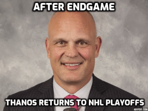 National Hockey League (NHL), Reddit, and Thanos: AFTER ENDGAME  THANOS RETURNS TO NHL PLAYOFFS  ADDTEXT.COM He landed on his feet