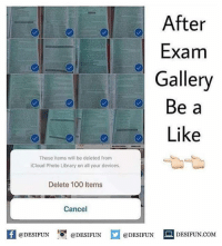 Anaconda, Be Like, and Meme: After  Exam  Gallery  Be a  Like  These items will be deleted Irom  iCloud Photo Library on all your devices.  Delete 100 ltems  Cancel  困@DESIFUN 1可@DESIFUN  @DESIFUN-DESIFUN.COM Twitter: BLB247 Snapchat : BELIKEBRO.COM belikebro sarcasm meme Follow @be.like.bro