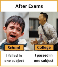 College, School, and One: After Exams  School  College  l passed in  one subjectone subject  I failed in