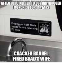 Memes, 🤖, and Cracker Barrel: AFTER FORCINGHERTOIUSEDIHYDROGEN  MONOXIDE FOR 11YEARS  Employees Must Wash  Hands Before Returning  To Work  CRACKER BARREL  FIREDBRADTSWIFE  ingfip com We want answers!