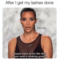 Girl Memes, Never, and They: After get my lashes done  @lash.funnies  People stare at me like they  never seen a walking godess Me in a few hours