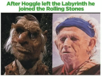 Labyrinth, Rolling Stones, and The Rolling Stones: After Hoggle left the Labyrinth he  joined the Rolling Stones Hoggle aged so gracefully