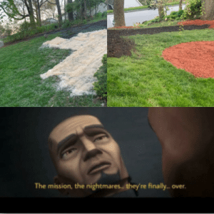 After my Dad left my Mom's yard went to shit. I got laid off, moved back in.Mulched, dug out an overgrown stone walk and weeds on two hills that used to have grass. 80 bags of soil on the hills and reseeded. Just finished. Can barely walk but it feels amazing. Best day in a long time.: After my Dad left my Mom's yard went to shit. I got laid off, moved back in.Mulched, dug out an overgrown stone walk and weeds on two hills that used to have grass. 80 bags of soil on the hills and reseeded. Just finished. Can barely walk but it feels amazing. Best day in a long time.