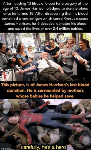 """It's enough to make a grown man cry"": After needing 13 litres of blood for a surgery at the  age of 13, James Harrison pledged to donate blood  once he turned 18. After discovering that his blood  contained a rare antigen which cured Rhesus disease,  James Harrison, for 6 decades, donated his blood  and saved the lives of over 2.4 million babies  This picture, is of James Harrison's last blood  donation. He is surrounded by mothers  whose babies he helped save.  carefully, he's a hero  imgflip.com ""It's enough to make a grown man cry"""