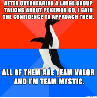 I'm a very quiet person when it comes to parties: AFTER OVERHEARING A LARGE GROUP  TALKING ABOUT POKEMON GO I GAIN  THE CONFIDENCE  TOLAPPROACH THEM.  ALL OF  THEM ARE TEAM VALOR  AND ITM TEAM MYSTIC  made on imgur I'm a very quiet person when it comes to parties