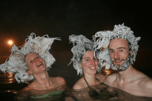 After spending 1 hour in the Hot Springs Lake, Canada. Even the winter temperature of the source is 36-42 degrees Celsius, while the temperature of the surrounding air can drop to -30 to -40 Celcius.: After spending 1 hour in the Hot Springs Lake, Canada. Even the winter temperature of the source is 36-42 degrees Celsius, while the temperature of the surrounding air can drop to -30 to -40 Celcius.