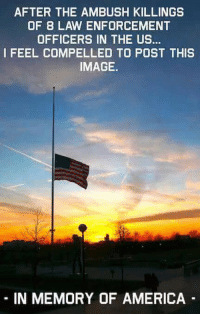 America, Love, and Memes: AFTER THE AMBUSH KILLINGS  OF B LAW ENFORCEMENT  OFFICERS IN THE US...  I FEEL COMPELLED TO POST THIS  IMAGE.  IN MEMORY OF AMERICA If these acts become the new normal, mark our words, the America we know and love IS DEAD.