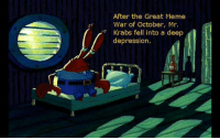 -Dissension: After the Great Meme  War of October, Mr.  Krabs fell into a deep  depression -Dissension