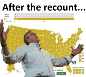 victory!: After the recount...  Clinton  Trump 0  Jeb  Undecided 0  0  538  WA  12  ND  MH  10  ID  10  29  16  IA  6  20  NV  6  IN18  5VA  13  40  NC  NJ  DE  MD  DC  TN  41  10  Split Electoral Votes  enerated Map  ME31  NE311  Share Map victory!