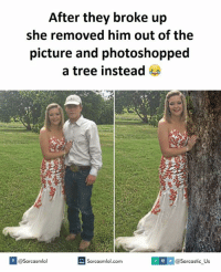Broke, They Broke Up, and  Instead: After they broke up  she removed him out of the  picture and photoshopped  a tree instead  V f  @Sarcasmlol  Sarcasmlol.com  @Sarcastic Us