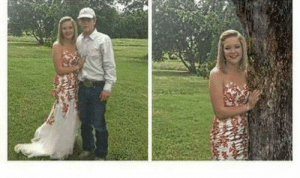 Tree, Him, and Photo: After they broke up she removed him out of the picture and photo-shopped a tree instead
