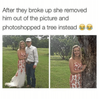 Funny, Memes, and Petty: After they broke up she removed  him out of the picture and  photoshopped a tree instead petty like me.