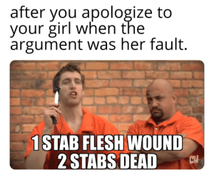 Funny, Girl, and Your Girl: after you apologize to  your girl when the  argument was her fault.  1 STAB FLESH WOUND  2 STABS DEADH Title....