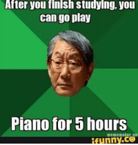 Studying Memes: After you flnish studyIng, you  can go play  Piano for b nours  meme maker ne  funny