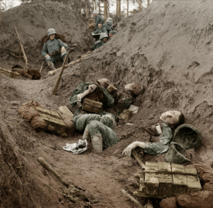 Aftermath of trench raid, WW1, Italian soldiers which have been killed in a trench on the Piave raided by Austrian troops (in the background) during the Second Battle of the Piave, 18th June 1918, Colorized: Aftermath of trench raid, WW1, Italian soldiers which have been killed in a trench on the Piave raided by Austrian troops (in the background) during the Second Battle of the Piave, 18th June 1918, Colorized