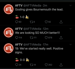 Just Arsenal things https://t.co/3uAAaXwkU8: AFTV @AFTVMedia · 2m  AFT) Gosling gives Bournemouth the lead.  1-0  O 60  92  AFTV @AFTVMedia · 12m  AFT  We are looking SO MUCH better!!!  9 114  27 111  878  AFTV @AFTVMedia · 17m  AFTY  19: We've started really well. Positive  signs.  0-0  O 24  2714  262 Just Arsenal things https://t.co/3uAAaXwkU8