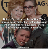 Honestly what is going on?? Like seriously, can life just hold up for a second and just not? Also sorry this isn't really Star Wars but gosh this is sad, I hope she is doing ok and has a speedy recovery. starwarsfacts: AG.  Debbie Reynolds, mother of Star Wars  actress Carrie Fisher has suffered a stroke  whilst planning her daughters funeral  and has been rushed to hospital.  Fact #91  @Starwars facts Honestly what is going on?? Like seriously, can life just hold up for a second and just not? Also sorry this isn't really Star Wars but gosh this is sad, I hope she is doing ok and has a speedy recovery. starwarsfacts