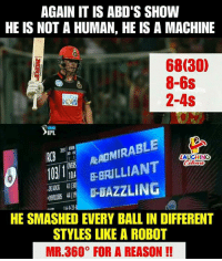 #ABD #RCBvCSK #IPL #Mr360: AGAIN IT IS ABD'S SHOW  HE IS NOT A HUMAN, HE IS A MACHINE  68(30)  8-6s  2-4S  IPL  RCB  0BRILLIANT  ARADMIRABL  AUGHING  OVERS  D-DAZZLING  HE SMASHED EVERY BALL IN DIFFERENT  STYLES LIKE A ROBOT  MR.360° FOR A REASON!! #ABD #RCBvCSK #IPL #Mr360