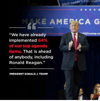 "Record, Trump, and Ronald Reagan: AGAIN  MAKE AMERI  MAKE AMECAG  ""We have already  implemented 64%  of our top agenda  items. That is ahead  of anybody, including  Ronald Reagan.""  djtrump.co  PRESIDENT DONALD J. TRUMP We're accomplishing our #MAGA agenda at a record pace – faster than even Ronald Reagan!"