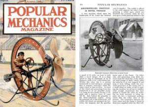 Tumblr, Blog, and Http: AGAINST TIME  470  POPULAR MECHANICS  AIR-PROPELLED UNICYCLE and oil supplies. The saddle is affixed  o the same support, the rider's hands  grasping a wheel upon which are  A new machine which upon the mounted the controls, while his feet  boulevards of St. Louis has attained rest upon a little platform bolted to the  IS NOVEL VEHICLE  MECHANICS  MAGAZINE  Remarkable Conveyance Wh  ich Uses an Aerial Tracter  a speed of 67 miles an hour is built lower part of the frame. On either  after a novel design. It is a huge side, and projecting some little dis-  wheel or ring of aluminum, 81 in. in tance from the main line of the wheel  diameter, with a 2-in. solid-rubber tire. are steel prongs or skids, which, when  Within this outer rim is a curious the unicycle is at rest, support it and  framework of steel tubing so arranged keep frmlng, while the rear-  that t remains stationary while the ward projection of the frame ends in  outer wheel or rim revolves, In front a small wheel or roller, of aid in start-  of the wheel and projecting from this ing the machine by giving it stability  framework is an air propeller nearly unti enough momentum has been  5 ft. long, its two bades having a -ft. gained to enable the rider, by inclin-  teh and a tractive force of some ing his body forward, to bring the  the propeller is main rib into a horizontal position,  lo which lifts the roller clear of the  the principal rib of the framework, and ground. The connection between the  within the wheel, are grouped the bat- outer wheel and the frame is found in  teries, the magneto and the gasoline three jaws supplied with 5-in. fiber roll  0 b Just behind  the th  lindered engine. scifiseries:  1914 prop-driven unicycle concept