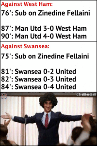 Memes, The Game, and Game: Against West Ham:  76': Sub on Zinedine Fellaini  87': Man Utd 3-0 West Ham  90': Man Utd 4-0 West Ham  Against Swansea:  75': Sub on Zinedine Fellaini  81': Swansea 0-2 United  82': Swansea 0-3 United  84': Swansea 0-4 United  @TrollFootball Marouane Fellaini - The Game Changer!! https://t.co/lCQ51ziIDD