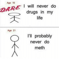 Drugs, Life, and Memes: Age 10  I will never do  drugs in my  life  Age 21  I'll probably  never do  meth Who this? 🙂