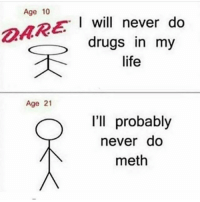 Drugs, Funny, and Life: Age 10  I will never do  drugs in my  life  Age 21  l'll probably  never do  meth 😂😂😂😂😂