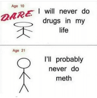 Drugs, Funny, and Life: Age 10  will  I will never do  drugs in my  life  DARE  Age 21  I'll probably  never do  meth Lmao 😂😂