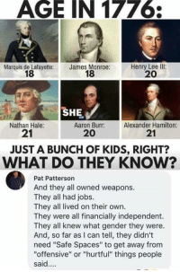 "Democrats be like...: AGE IN 177  Marquis de Lafayette:  18  James Monroe:  18  Henry Lee llI:  20  SHE  Nathan Hale:  21  Aaron Burr:  20  Alexander Hamilton:  21  JUST A BUNCH OF KIDS, RIGHT?  WHAT DO THEY KNOW?  Pat Patterson  And they all owned weapons.  They all had jobs.  They all lived on their own.  They were all financially independent.  They all knew what gender they were.  And, so far as I can tell, they didn't  need ""Safe Spaces"" to get away from  ""offensive"" or ""hurtful"" things people  said.... Democrats be like..."