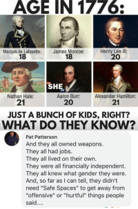 "(GC): AGE IN 1776  Marquis de Lafayette:  18  James Monroe:  18  Henry Lee llI:  20  SHE  Nathan Hale:  21  Aaron Burr:  20  Alexander Hamilton:  21  JUST A BUNCH OF KIDS, RIGHT?  WHAT DO THEY KNOW?  Pat Patterson  And they all owned weapons.  They all had jobs.  They all lived on their own.  They were all financially independent.  They all knew what gender they were.  And, so far as I can tell, they didn't  need ""Safe Spaces"" to get away from  ""offensive"" or ""hurtful"" things people  said. (GC)"
